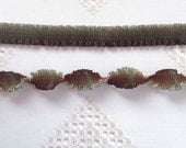 """Pleated French Ribbon Acetate Dragon Green Bronze Ombré 1 meter 7/8"""" wide #280"""
