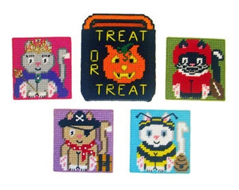 Costume Kitties Coaster Set Plastic Canvas PDF PATTERN ONLY  **Not Finished Product**