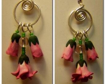 Small Pink Rose Dangle Earrings