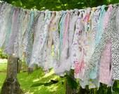 Rag Tie Garland, Rag Fringe Garland, Fabric Garland, Tea Party, Shabby Chic Garland Farmhouse Wedding Photo Prop