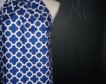 READY to MAIL - Ladies Pillowcase Mini DRESS - Blue and White Quaterfoil - Will fit size S / M - by Boutique Mia