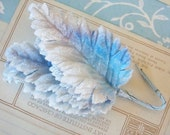 Velvet Leaves / Vintage Millinery / Variegated Whites and Blues / Bunch of Six Stems / Graduated Colors