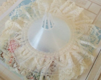 Vintage / Plastic Wedding Bouquet Holder / One Item / Embellished With Lace / Ivory