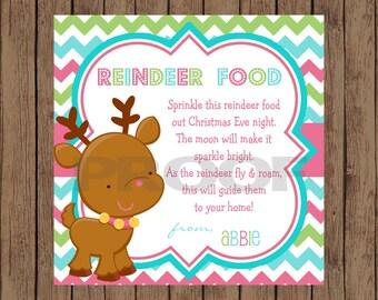 REINDEER FOOD Chevron Christmas Favor Tag / Reindeer Gift Tag / Reindeer Food Tag / Christmas Gift Tag / Christmas Favor Tag / PRINTABLE