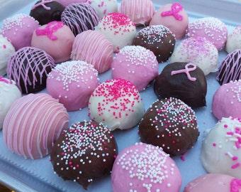 Cake Balls: Breast Cancer Awareness Bitty Bites Sampler. Favors for events. Pink gift ideas. Get well gift under 20.00 ONE DOZEN