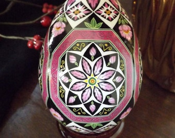 Pretty In Pink Octagons Floral Pysanka Pysanky Batik Ukrainian Style Easter Egg Art EBSQ Plus