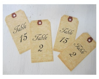12 Table Number Tags, Mason Jar Table Numbers, Vintage Wedding Table Numbers, Aged Table Signs, Wine Bottle Table Number Tags, V01