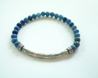 Stacking Bracelet, Gift for Her Jewelry, Blue Stacking Bracelet,  Fine Silver Bracelet, Gemstone Bracelet