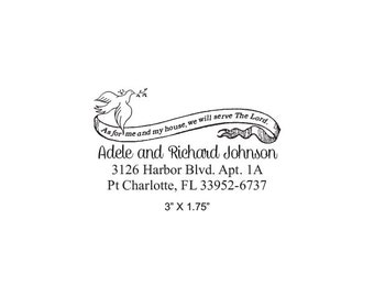 Peace Dove and Biblical Quote Custom Return Address Rubber Stamp AD323