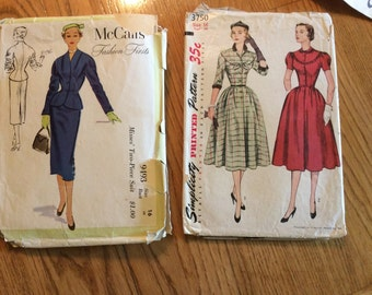 Vintage McCalls Classic Suit 9493 and Simplicity Dress Patterns 3750 - Both for 10.00 - Size 16 Bust 34