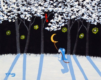 Schnauzer Dog Folk Art PRINT of Todd Young painting Lasso the Winter Moon