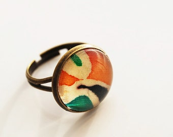 Antique Brass Autumn Orange & Burnt Green Glass Dome Adjustable Ring, FREE US SHIPPING