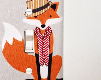 Light Switch Plate Cover, wall decor - gray with fancy fox wearing a hat and a vest