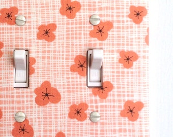 Double Standard Light Switch Plate Cover - coral pink retro flowers, floral