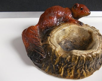 Vintage Ash Tray : Squirrel and Log, Woodland Decor