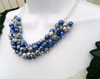 Cobalt Blue and Silver Gray Beaded Necklace, Blue Bridesmaid Jewelry, Cluster Necklace, Chunky Necklace, Bridesmaid Gift Bridesmaid Necklace