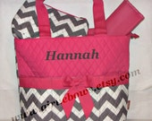 Personalized Quilted Diaper Bag Set Pink and Grey Chevron - MONOGRAMMED FREE - By Girliebows