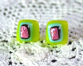 Fused Glass on Sterling Silver Post Stud Earrings -Bright Green with Layers of Soft Lilac Blue and Shimmering Pink - 9mm