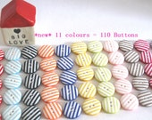 Buttons Beach Hut Stripes x110 small 1cm Buttons 11 colours