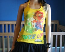 Super Mario Power Up Nintendo halter top recycled Small