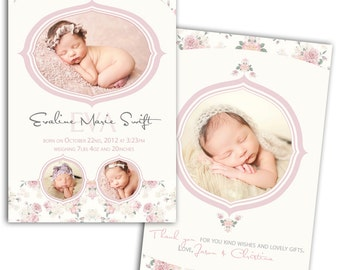 Photo Birth Announcement/Girl Baby Announcement/Printable Photo Birth Announcement/Baby Thank you card/Print yourself/Vintage Announcement