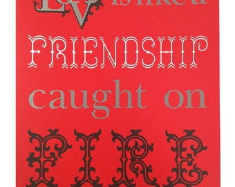 Fire Love Friendship Poster (Red)