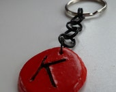 Red Intial K Keychain