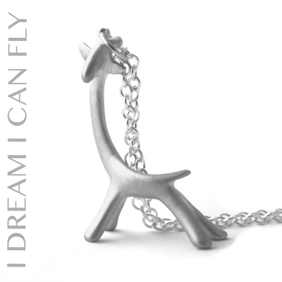 Giraffe necklace - Sterling silver with a brushed finish