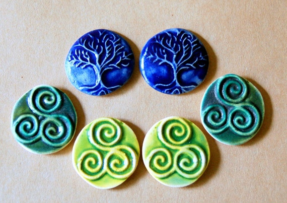 6 Ceramic Mosaic tiles - Tree of Life and Triple Spiral Cabochons - Handmade Ceramic Celtic tiles