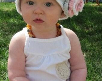 "Cloche Hat Crocheted ""The Charlene"" Pastel Pink Charcoal Grey White Bucket Hat Flower Trim"