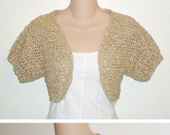 Tan Boucle Shrug 2 styles included PDF Crochet Pattern
