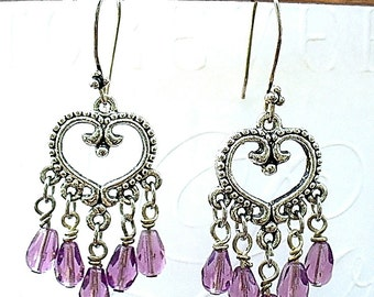 Purple Chandelier Earrings -  Red Hat Society Jewelry - E2012-15