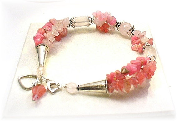 Rose quartz bracelet plus size womens bracelet by redhatlady for Plus size jewelry bracelets