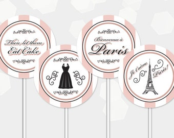 Paris Cupcake Toppers Themed Party - Birthday Shower Cocktail - DIY Printable