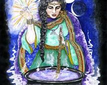 Cerridwen's Cauldron Celtic Goddess Print Pagan Wicca Mythic Halloween Fantasy Art Altar Decor