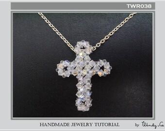 Beaded Cross Pendant Tutorial TWR038