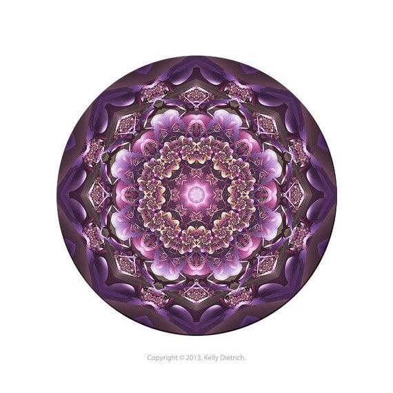 Honesty Fractal Mandala Art Print in Purple and Pink - Colorful Meditative Kaleidoscope Print