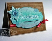 Text Art Merry Christmas Snowflakes Greeting Card Handmade in Turquoise Blue Kraft Red