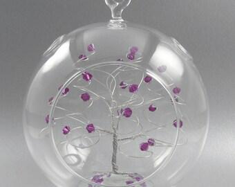 Glass Christmas Ornament Amethyst Swarovski Crystal Elements and Silver Crystal February Christmas Ornament