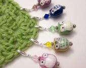 5 Stitch Markers - Owl Garden