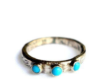 Scratch Band- Hand Carved and Cast Band with Three Bezel Set Sleeping Beauty Turquoise