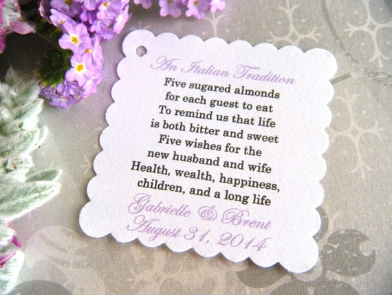 100 Custom Printed An Italian Tradition Jordan Almond Poem Wedding Favor Tags On White Card