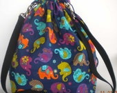 Tossed Elephants Lace Knitting Large Drawstring Project Bag