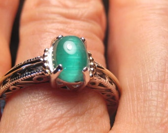 Natural Cat's Eye  Emerald Green Tourmaline  Sterling Silver and 14 kt Gold ring ........ size 7 or size N 1/2 for my Uk Friends .....  e712