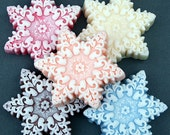 Snowflake Soaps Shea Butter Bar Soap Set of FIVE Choose Your Scent Holiday Christmas Soap