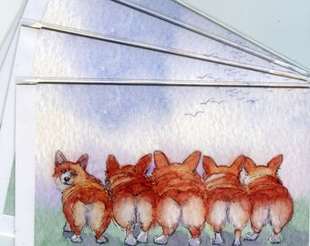 4 x Welsh Corgi dog greeting cards five run away together Enid Blyton