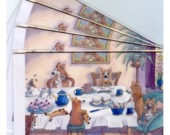 4 x Welsh Corgi dog greeting cards - friends to tea