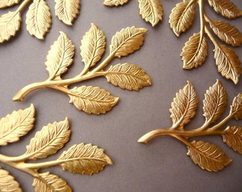 6 Brass Rose Leaf Branch Findings