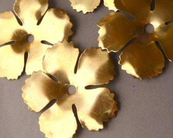 3 Brass Flowers for Rivets or Layering-- Serrated Edge