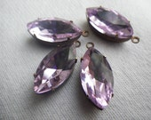 Lavender Purple 18X9mm Navette Brass Ox Glass Drops or Unset Stones 4 Pcs